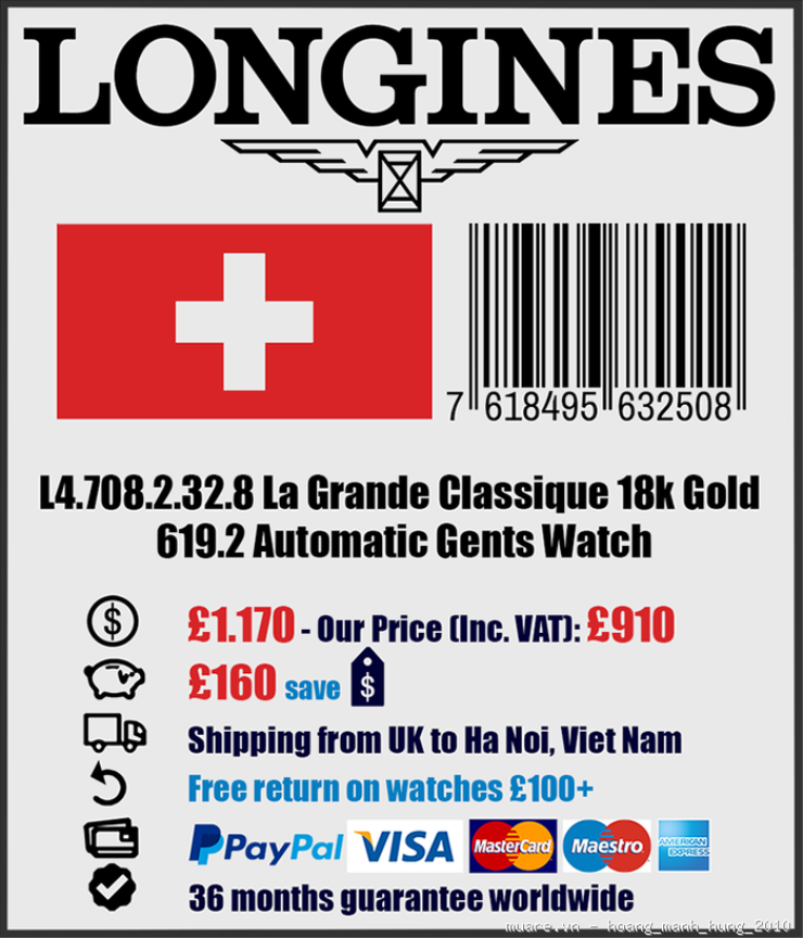 Rolex Malaysia, Longines Thụy Sỹ new fullbox $917 giảm giá còn $295!!! - 21
