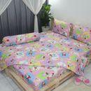 Bộ drap mền An Khang bé thỏ chấm bi nhỏ trắng trên nền hồng 100% cotton chất lượng