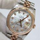 Đồng hồ Rolex Date Just 116231 demi vàng hồng 18k. mặt trai trắng size 36mm