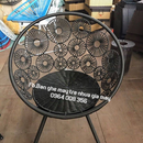 Bộ bàn ghế hoa đồng tiền nhựa giả mây màu nâu