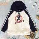 Áo bé trai Hoodie sport thời trang màu trắng (8-12 Tuổi)
