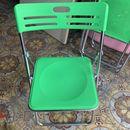 Ghế xếp inox màu xanh, hàng đẹp mới 95%
