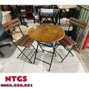 Bộ bàn 2 ghế cafe chân sắt xếp