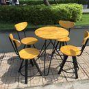 Thanh lý bộ bàn ghế cafe sân vườn màu vàng hàng tồn kho giá rẻ