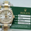 Đồng hồ Rolex 116243 date-just mặt tia bạc, vành kim cương zin size 36mm