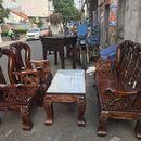 Bộ salon gỗ cũ chạm rồng tay 12
