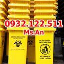 Thùng rác 12l màu vàng có logo y tế sinh học