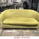Bán ghế sofa đôi bọc vải màu xanh lá cũ hàng tồn