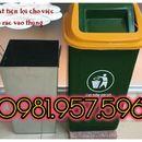 Thùng rác nhựa composite dung tích 90L, thùng rác nắp lật 90L