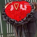 Bó hoa trái tim i love u khổng lồ, hoa sáp