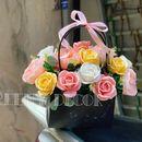 Giỏ hoa giấy mỹ thuật handmade