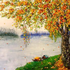 Tranh sơn dầu, tranh phong cảnh, tranh phong thủy, tranh tứ quý giá rẻ nhất HN